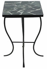 Homestyle Collection Square Stone Top Metal End Table