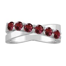 10K White Gold Round 6-stone Mothers Ring