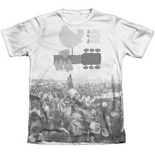 Woodstock Crowd Mens Sublimation Poly Cotton Shirt White
