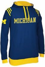 Adidas Michigan Wolverines College 3-Stripe Pullover Hoodie - Navy - S, M, L