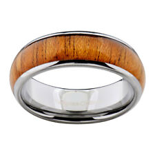 8mm Tungsten Brown Wood Inlay Dome Top Men's Jewelry Wedding Ring Band