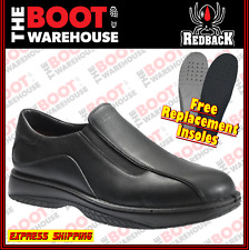 Redback Work Boots RBBN BARMAN, Non Safety Soft Toe, Black Slip-On Shoes. New!