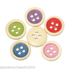 Wholesale HOT! Wooden Buttons Mixed Color Cute Round 4-hole Sewing Scrapbook