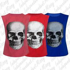 Womens Ladies Sleeveless Skeleton Skull Glitter Printed Vest T Shirt Tank Top