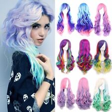 Multicolor Long Curly Straight Full Wig Women Ladies Cosplay Party Anime Hair #i