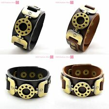 Fashion Leather & Alloy Bracelet Belt Wristband Bangle Cuff Punk Gothic Rocker