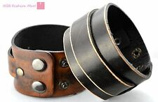 2 Layer Man Woman Genuine Leather Bracelet Belt Wristband Bangle Cuff Punk Gift
