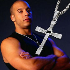 Fast & Furious Men Stainless Steel Cross Pendant Necklace Chain Silver/Gold Gift
