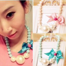 New Fashion Girl's Bib Chunky Party Statement Necklace Pearl Pendant Retro Bow