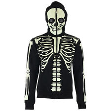 BANNED GLOW IN THE DARK SKELETON SKULL FACE MASK HOODIE HOODED TOP HORROR