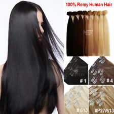 100% Real European Clip In Remy Human Hair Extensions Double Weft 70g / 7pcs 8A