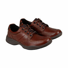 Clarks Wave Korey Mix Mens Brown Leather Casual Dress Lace Up Oxfords Shoes