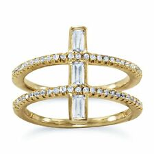 14K Gold Plated 925 Sterling Silver Cubic Zirconia Double Cross Ring Size 6-10