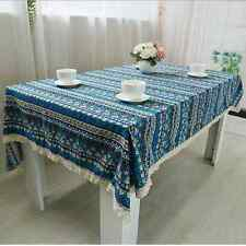Elegant Ethnic Style Blue Dinning Coffee Table Cotton Linen Cloth Cover T