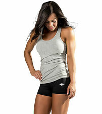 WOMENS LADIES GYM TANK TOP TRAINING SPORTS SINGLET RACERBACK T BACK S105 GREY