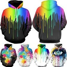 Rainbow Splatter Paint Graphic Print Punk Womens Mens Hooded Long Sleeve Hoodies