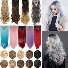 US 100% Real Natural Full Head Clip in Hair Extensions 8Pieces Long Remy HAIR T8