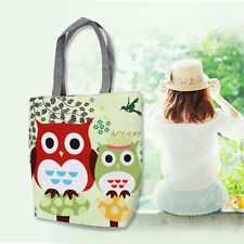 Cartoon Owl Stampato Casual Tote Canvas Female Daily Use Single Shoulder Bag L0