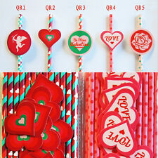 25 pcs Paper Drinking Straws with Sticker Tags For Love Valentine's Day