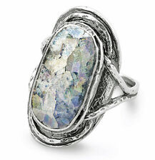 Women's Oval Ancient Roman Glass Textured 925 Sterling Silver Ring Size 6-10