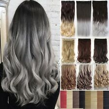 """Long Luxury Curly Straight 18-30"""" Clip In Hair Extensions Full Head For Human FQ"""