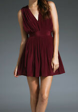 NWT! EVER BABU Pleated Dress 100% SILK Revolve SOLD OUT! BURGUNDY/JADE sz. XS-L