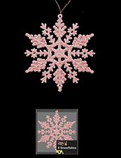 Pack Of 6 Baby Pink Glittery Hanging Snowflakes Christmas Tree Decorations