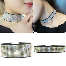 Fashion Women Rhinestone Crystal Choker Chunky Necklace Bid Necklaces Chain Hot