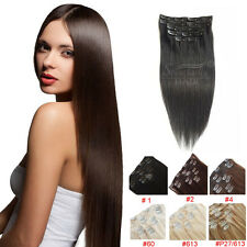 "Full Head 100% European Remy Hair Clip In Human Hair Extensions Weft 16""18""20"""