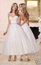 New Tea length White/Ivory Lace Bridal Gowns Short Wedding Dress Stock Size 6-18
