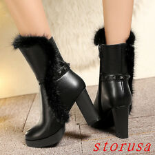 Women High Block Heel Fur Trim Mid Calf Boots Platfom Snow Boots Real Leather