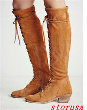 England Women Cuban Mid Heel Suede OVer Knee High Thigh Tall Boots Lace Up Zip#