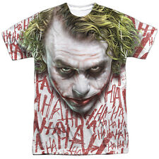 Dark Knight Joker Face Short Sleeve Mens Poly Crew Sublimation Polyester White