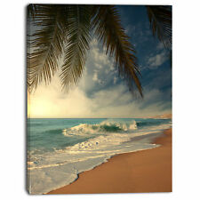 'Beautiful Tropical Beach with Palms' Photographic Print on Wrapped Canvas