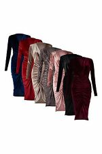 New Women's Ladies Crushed Velvet Cowl Neck Long Front Ruched Midi Dress