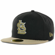 St. Louis Cardinals MLB Fall Fitted New Era 5950 Cap Hat Flat Bill Black Khaki