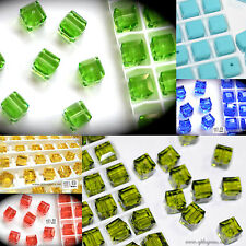 Authentic #5601 Swarovski Crystal Cube Square Beads assorted colors 10pcs