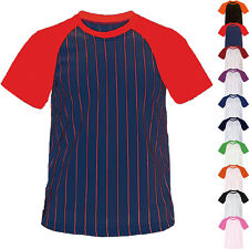 New Mens Baseball Striped Jersey Raglan T-Shirt Team Sport Varsity Uniform Tee
