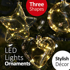Light My Life LED Light Hanging Glass Ornament with Heart/ Star/ Sphere Decor