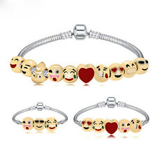 Emoji Fun Face Charm Bracelet 3D Bead 18K Gold Plated Women Gift Ladies Jewel