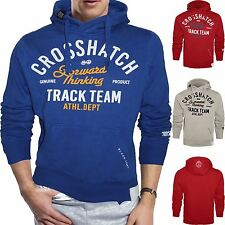 Mens Crosshatch Hoodie Sweatshirt Fleece Pullover Printed Hooded Jacket Jumper