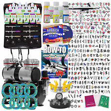 Temporary Tattoo Airbrush Kit - 6 Gun Set With Compressor and Stencils