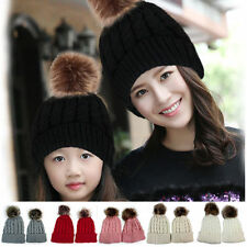 Warm Winter 2 Pcs Mother & Child Baby Knit Beanie Fur Pom Hat Crochet Ski Cap