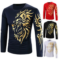 New Shirts Mens Fashion Luxury T-Shirt Long Sleeve Casual Slim Fit Pullover Tops