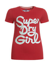 New Womens Superdry Superdry Girl Entry T-Shirt Indiana Red