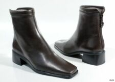 new STUART WEITZMAN 'Yorkshire' brown nappa leather back zipper FLAT ANKLE BOOTS