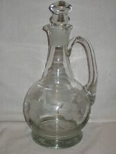 Clear Glass Decanter Etched Floral Pouring Pitcher Cruet Bottle Glass Stopper