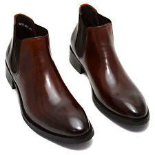 Men#Formal Dress Cow Leather Ankle Boots Fashion Chelsea Boots Brogue Shoes