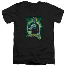 Justice League Green Lantern Brooding Mens V-Neck Shirt Black