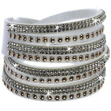 BLACK or WHITE Pave Crystal Rhinestone Cz WRAP Leather Gold Line Bracelet BLING